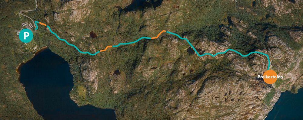Recorrido de la excursión desde el Parking hasta el Preikestolen