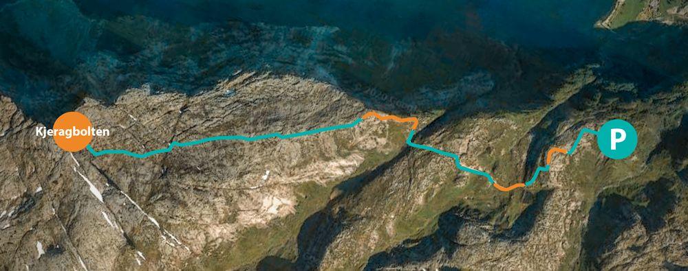 Mapa de la ruta a Kjeragbolten