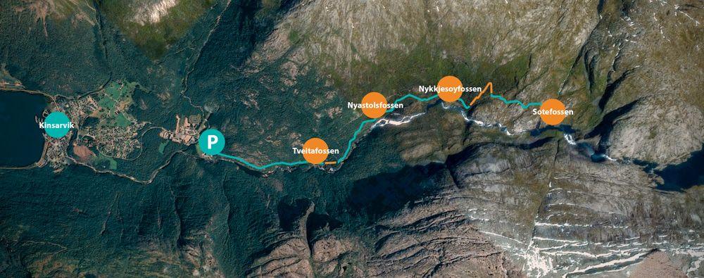 Mapa de la ruta de las cascadas de Husedalen