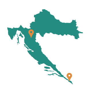 Mapa relleno de Croacia