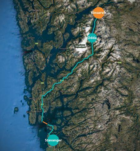 Mapa del recorrido de Stavenger a Kinsarvik