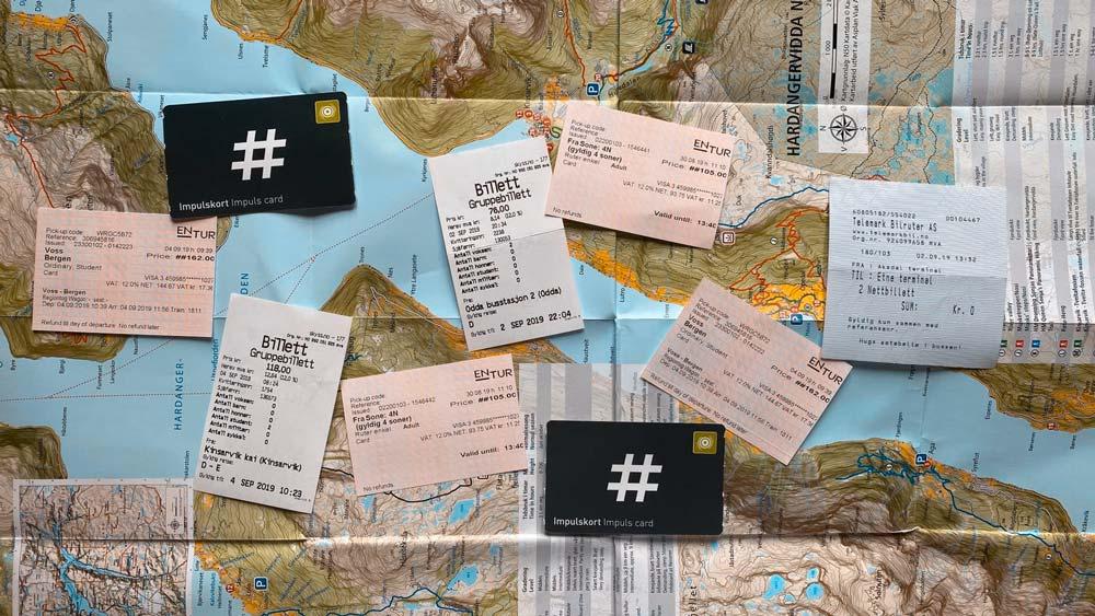 algunos de los tickets del viaje a Noruega en 6 días