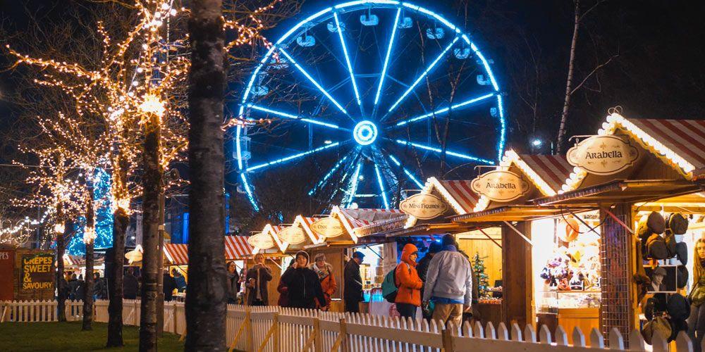 Mercado de navidad de Galway con sus paradas y la noria