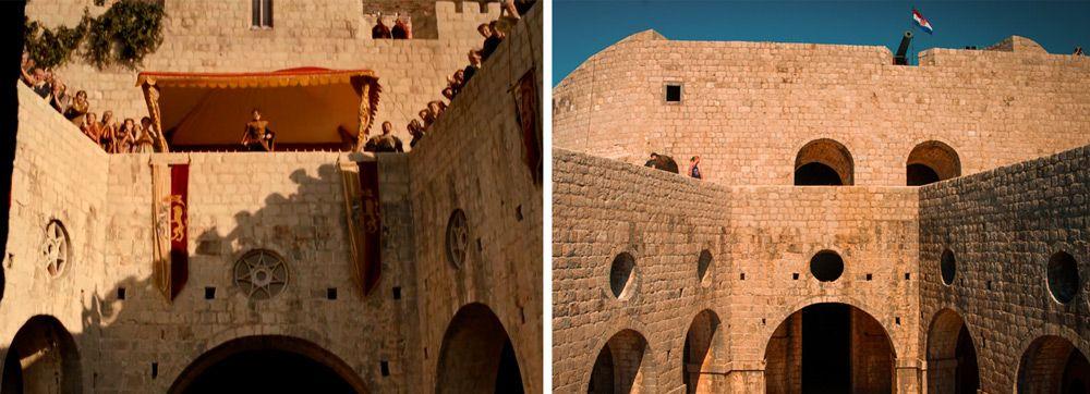 Patio interior del fuerte Lovrijenac donde gravaron Juego de Tronos