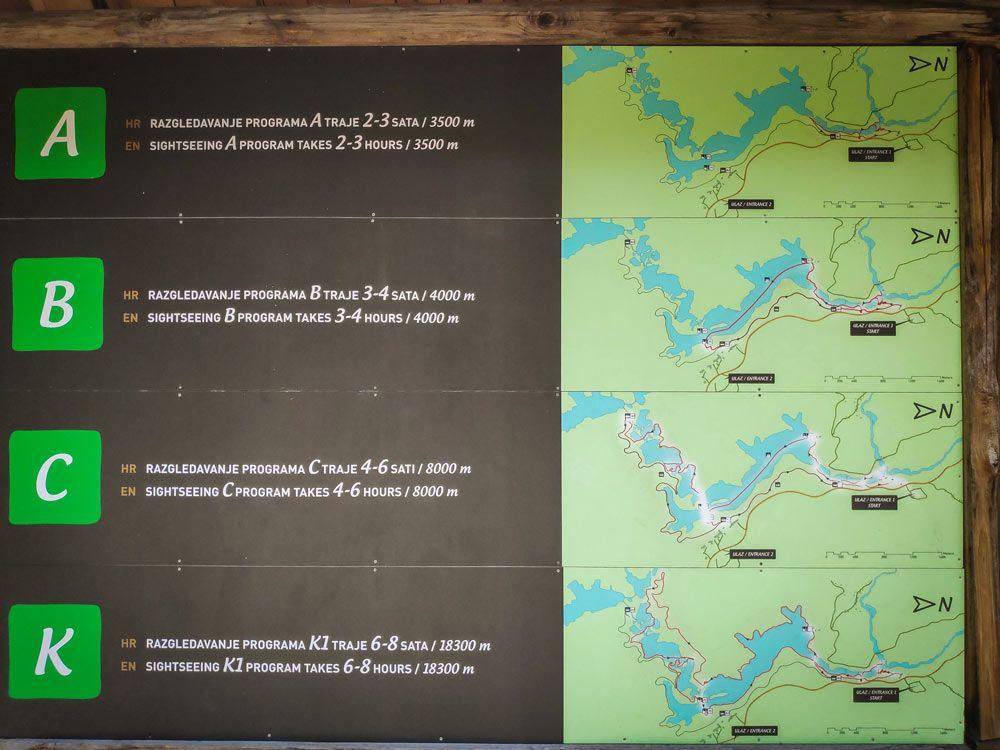 Tablero para consultar las posibles rutas del parque de los Lagos de Pltivice