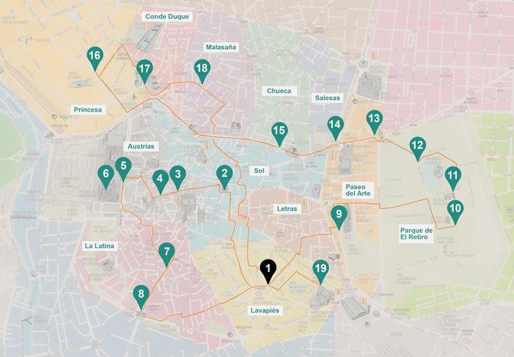 Mapa de la ruta de nuestra escapada a Madrid en 3 días