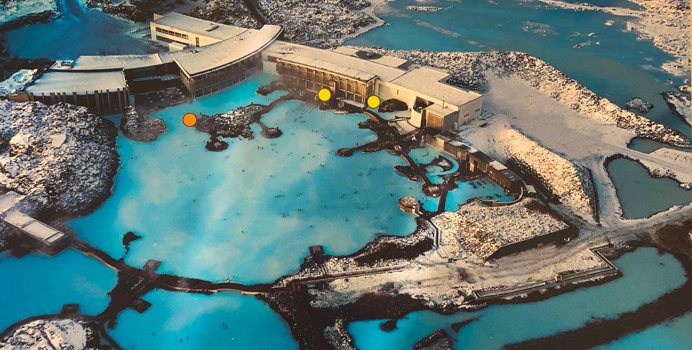 Mapa del recinto de Blue Lagoon desde el aire